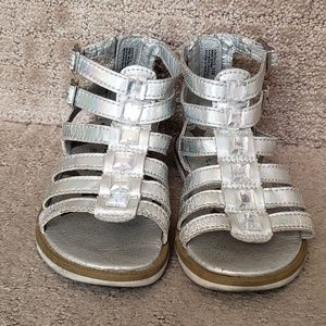 Toddler girls stride rite sandals sz 9.5 silver